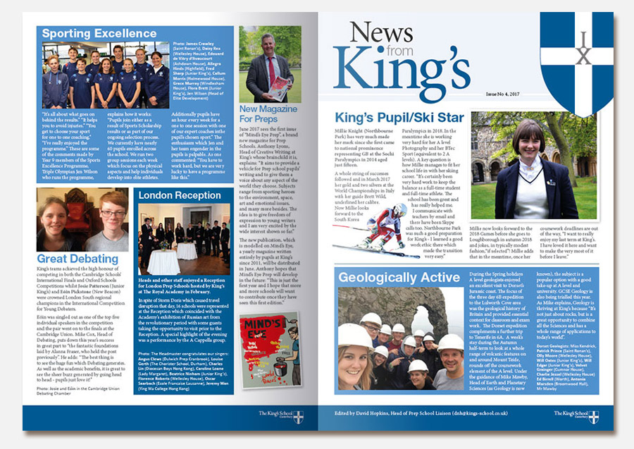Front cover design artwork for the King's newsletter design