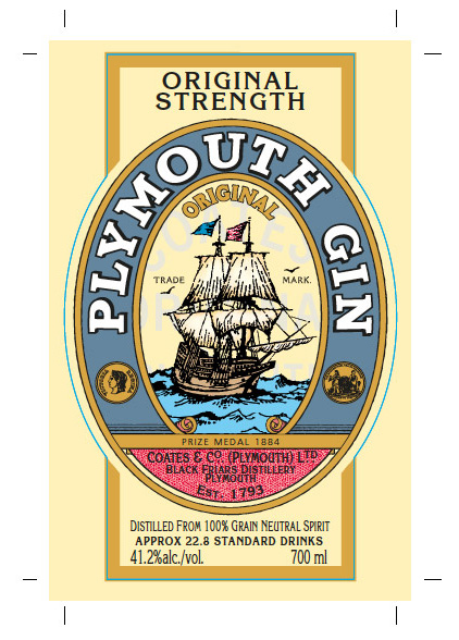 Plymouth Gin bottle label design artwork.